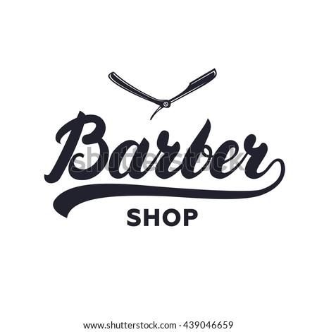 Barber shop hand written lettering calligraphy logotype. Barbershop vintage label, badge, emblem, logo. Vector illustration. - stock vector