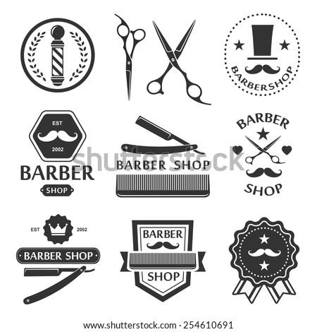 Barber shop logo, labels, badges vintage - stock vector