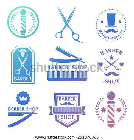 Barber shop logo, labels, badges vintage set - stock vector