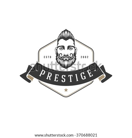 Barber Shop Logo Vector Template. For Label, Badge, Sign or Advertising. Barber shop Logo, Hipster Man, Hairdresser Logo. Hipster Silhouette. Hairstyle Man with Mustache and Beard. , - stock vector