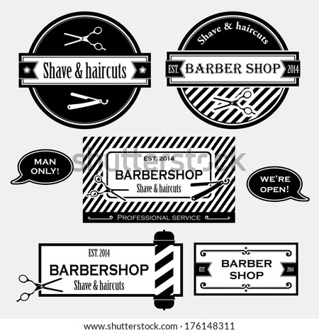 Barber shop old fashioned signs vector collection - stock vector