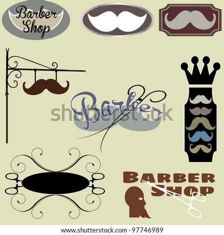 Barber shop set - stock vector