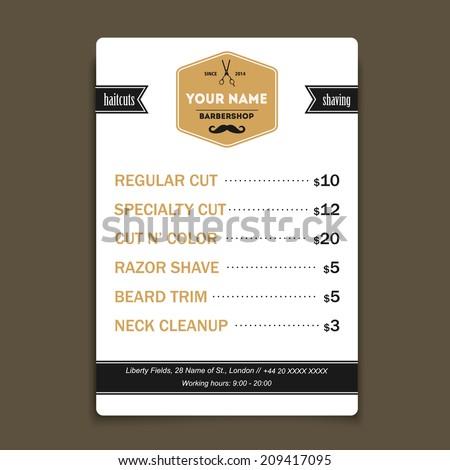 Barber shop vintage offer list template  - stock vector