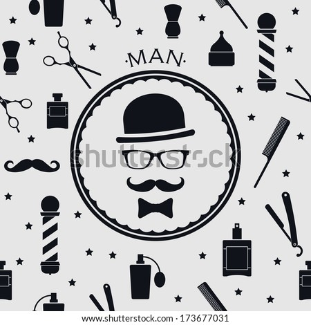 Barber shop vintage seamless background with barber accsessories - stock vector