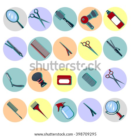 Barber Tools. Hairdresser Tools. Hair Beauty. Hair Accessories. Fashion Equipment. Scissors, Comb. Mirror, Curler. Icons Set. Vector illustration. Flat style - stock vector