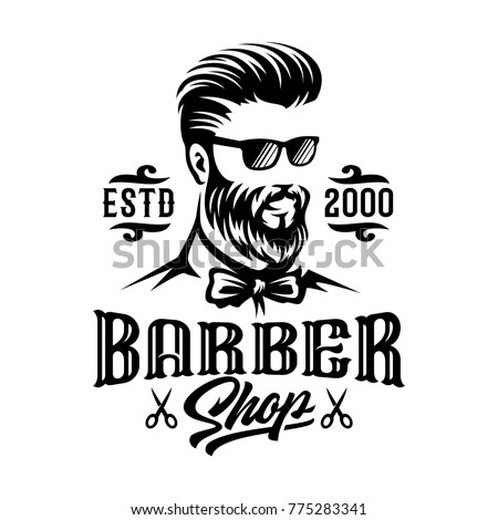 Barbershop Hairstyle Man Label Logo Illustration