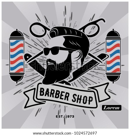 Barbershop Logo Barber Pole Vintage Style Stock Vector 1024572697