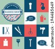 Barbershop vintage vector icons set - stock vector