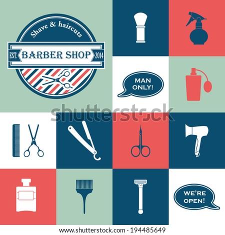 Barbershop vintage vector icons set - stock vector