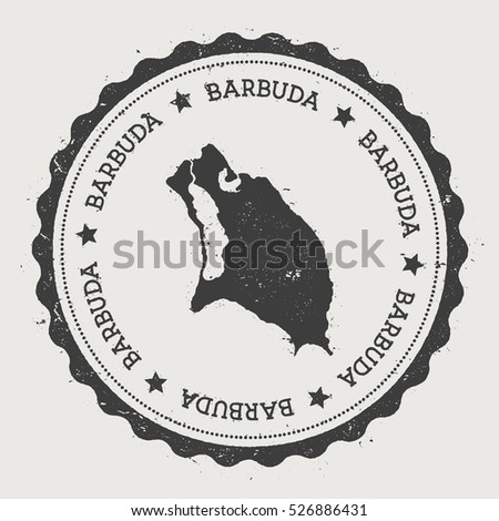 Barbuda vector sticker hipster round rubber stamp with island map vintage passport stamp with