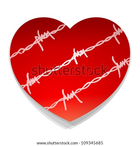 Barbwire Love Heart - Red heart illustration with barbwire silhouette around - stock vector