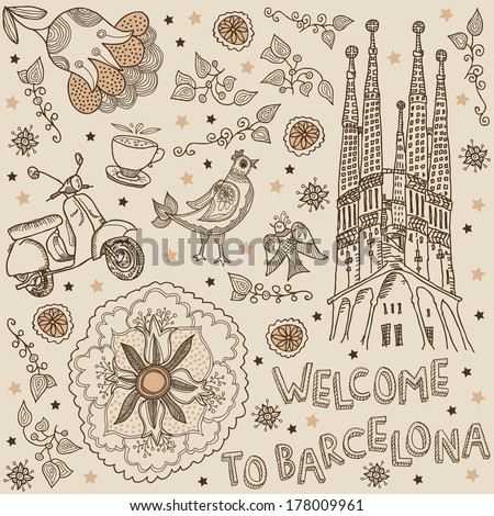 Barcelona. background welcome to Barcelona - stock vector