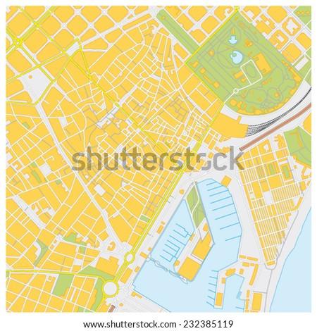 barcelona city map - stock vector