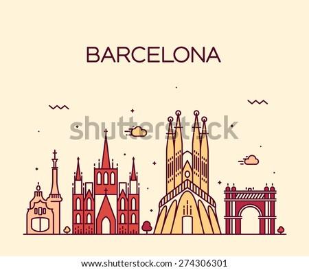 Barcelona City skyline detailed silhouette. Trendy vector illustration, line art style. - stock vector