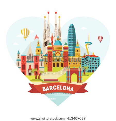 Barcelona detailed silhouette. Vector illustration - stock vector