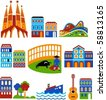 Barcelona - landmarks and attractions - stock vector