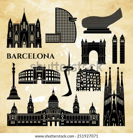 Barcelona monuments detailed silhouette. Vector illustration - stock vector