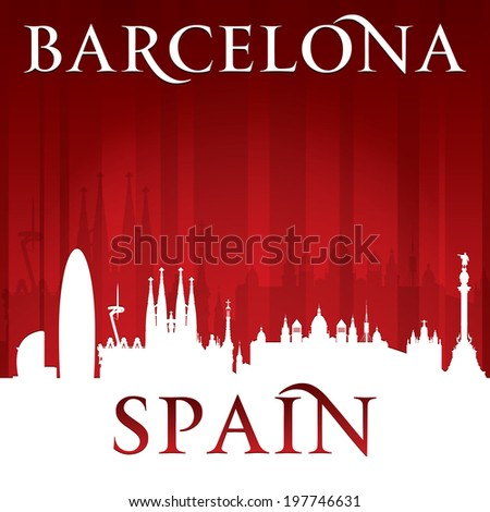 Barcelona Spain city skyline silhouette. Vector illustration - stock vector