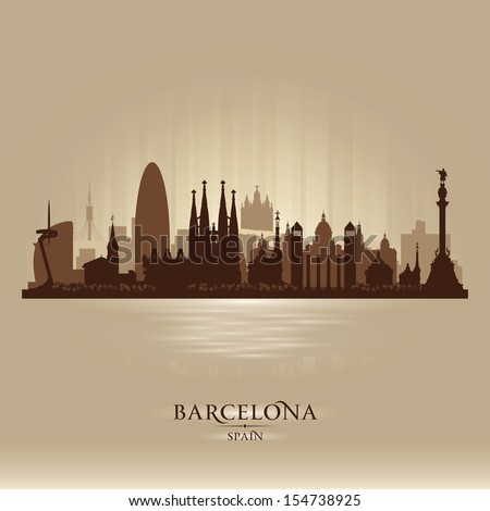 Barcelona Spain city skyline vector silhouette illustration - stock vector