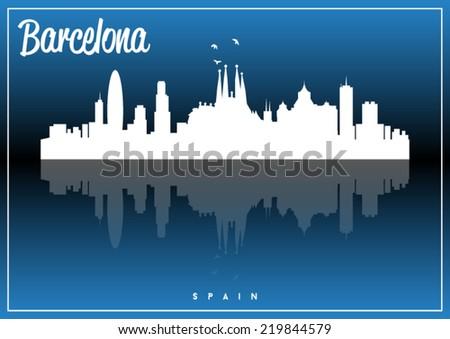 Barcelona, Spain skyline silhouette vector design on parliament blue background. - stock vector