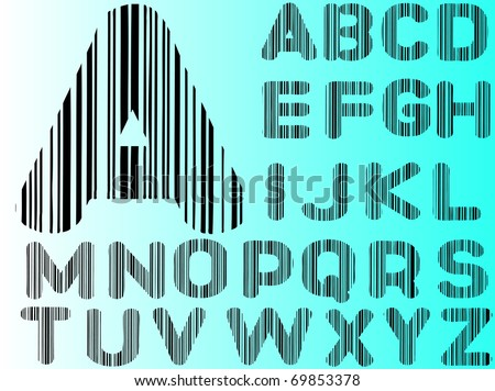 Barcode Alphabet Ato Z  (Hand drawn Letters - Separately grouped and  transparent so they can be overlaid onto other graphics) - stock vector