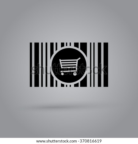 Barcode background with cart - vector element for design  - stock vector
