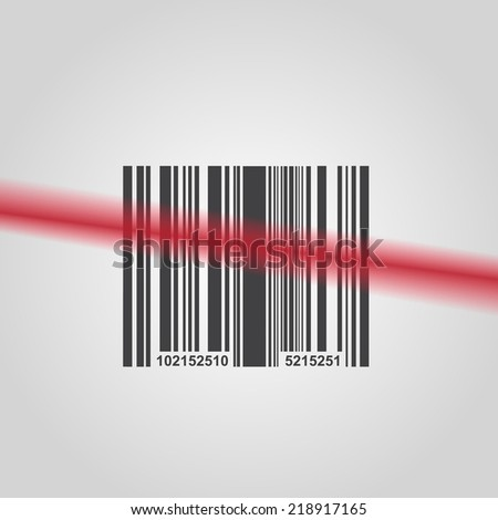 Barcode background with laser - vector element for design  - stock vector