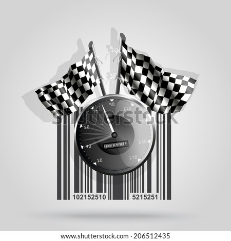 Barcode background with racing theme - vector element for design - stock vector