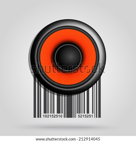 Barcode background with speaker theme - vector element for design  - stock vector