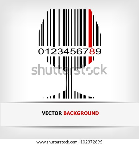 Barcode image with red strip - vector illustration - stock vector
