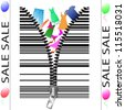 Barcode looks like a zipper with goods. Vector Illustration. - stock vector