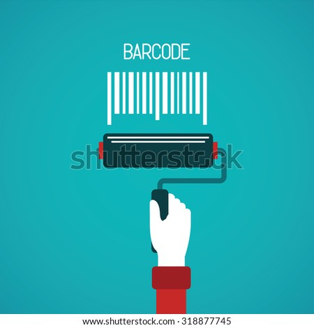 Barcode painting vector concept in flat style