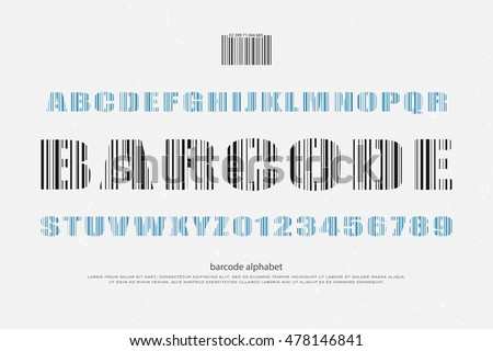 barcode style alphabet letters and numbers. vector font type design. merchandise lettering icons. lines pattern, commercial typesetting. technology typeface, fonts template