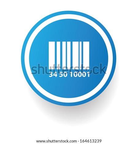 Barcode symbol,Blue button,vector - stock vector