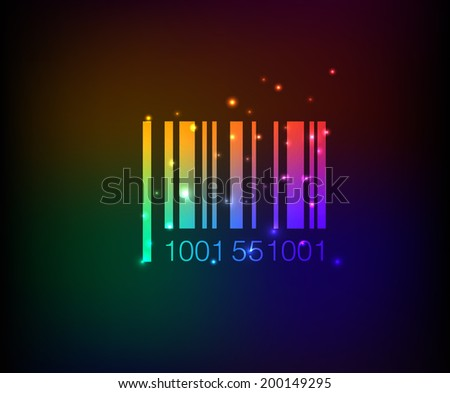Barcode symbol,rainbow vector - stock vector