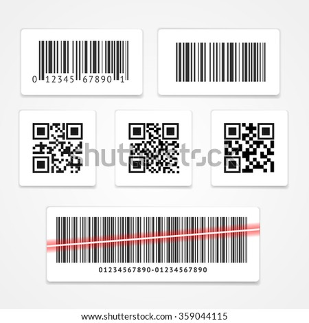 Barcode Tag or Sticker Set.  Vector illustration - stock vector