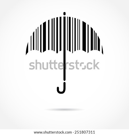 Barcode Umbrella. Protection and Safety concept. Vector illustration  - stock vector