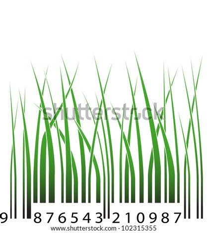 Barcode with green grass - stock vector
