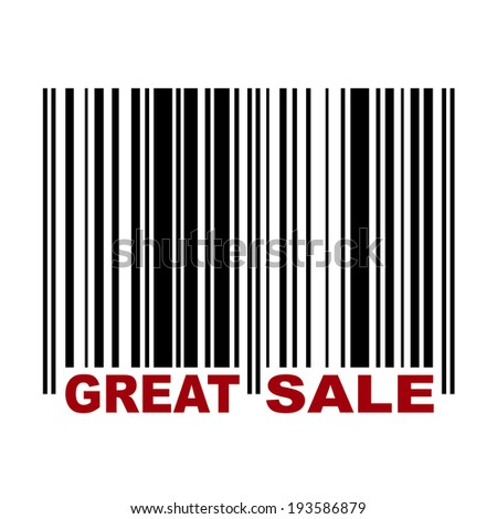 Barcode with label Great Sale in red color