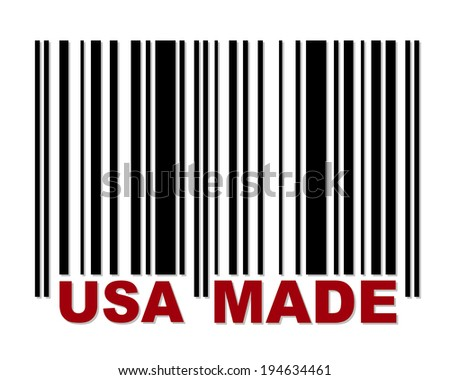Barcode with red label USA Made - stock vector