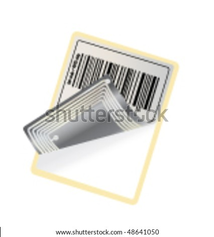 barcode with RFID chip (vector) - stock vector