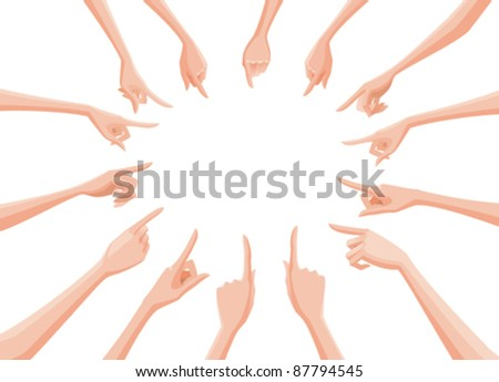 bare female hands in circle pointing to its center - stock vector