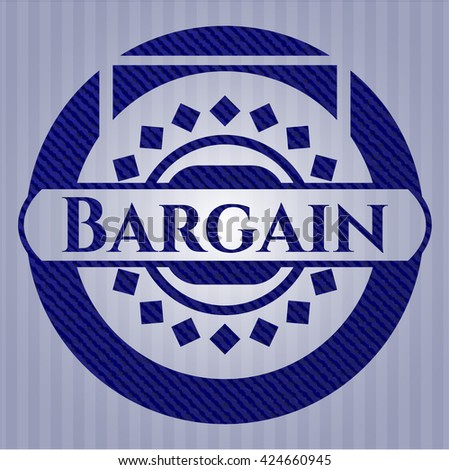 Bargain jean or denim emblem or badge background - stock vector