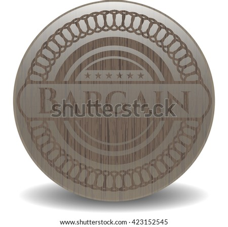 Bargain retro style wooden emblem - stock vector
