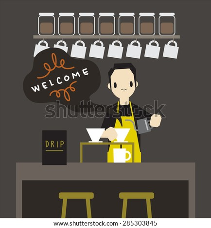 Barista drip coffee, illustration vector - stock vector