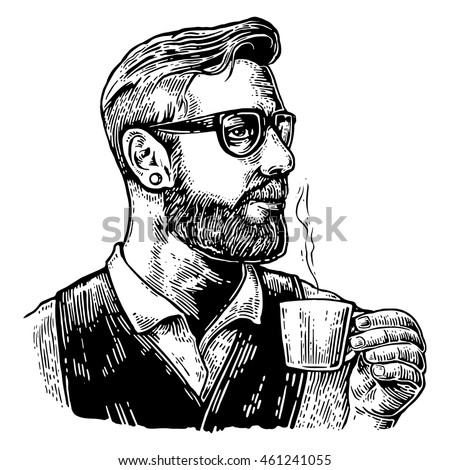 Barista hipster holding a cup of hot coffee. Hand drawn style. Vintage vector engraving illustration for label, web, poster. Isolated on white background.
