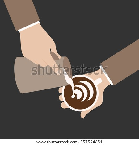 barista hold cup and making latte or cappuccino art coffee with milk - stock vector