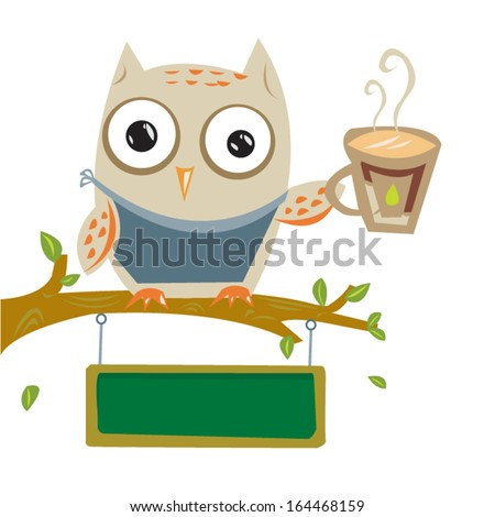 Barista Owl with coffee cup and blackboard for texts - stock vector