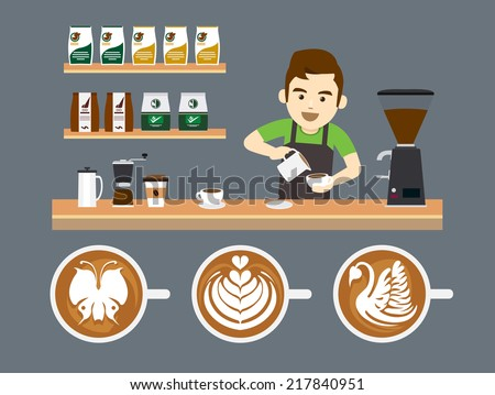 Barista Pouring Latte Art - stock vector