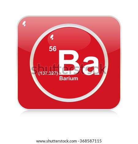 barium chemical element button - stock vector